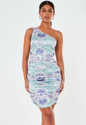 Missguided Printed Satin One Shoulder Ruched Mini Dress