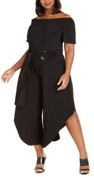 MSK Plus Size Off-The-Shoulder Asymmetrical Jumpsuit