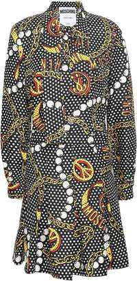 Moschino Pleated Printed Silk-twill Mini Dress