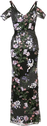 Marchesa Floral Embroidered Fishtail Gown