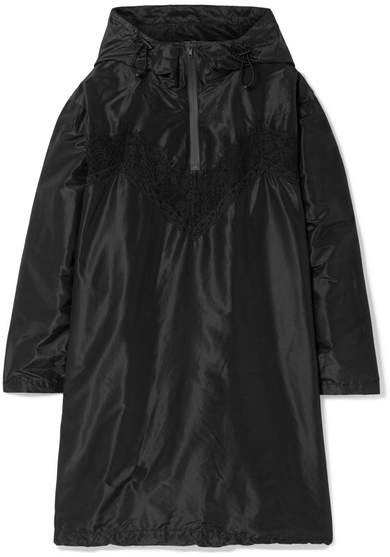 Maison Margiela Oversized Hooded Lace-trimmed Silk-taffeta Mini Dress - Black