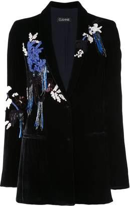 Cushnie Velvet Embroidered Blazer