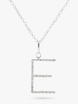 E.W Adams 9ct White Gold Diamond Letter Pendant