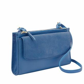 Fossil Women's Sage Blue Leather Mini Bag Wallet