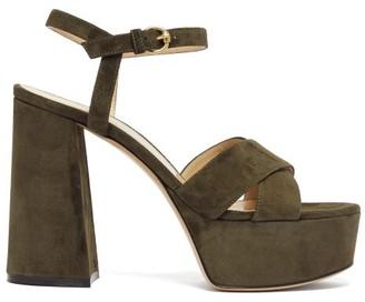 Gianvito Rossi Platform 70 Suede Sandals - Womens - Khaki