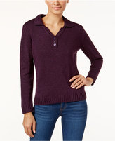 Karen Scott Petite Johnny-Collar Marled Sweater, Only at Macy's