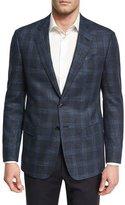Giorgio Armani Glen Plaid Two-Button Sport Coat, Navy/Bright Blue