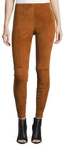 Theory Navalane L Stretch-Suede Pants, Russet