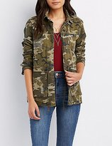 Charlotte Russe Distressed Camo Anorak Jacket