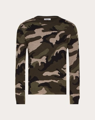 Valentino Camouflage Cashmere Crew-neck Sweater Man Military Green Cashmere 100% S