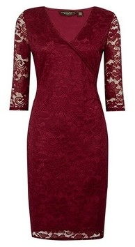 Dorothy Perkins Womens Oxblood Wrap Lace Bodycon Dress