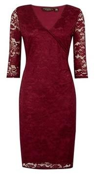 Dorothy Perkins Womens Oxblood Wrap Lace Bodycon Dress