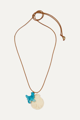 Dinosaur Designs Gold-tone, Leather And Resin Necklace - Turquoise