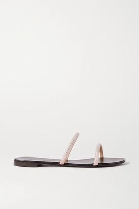 Giuseppe Zanotti Nuvoroll Crystal-embellished Leather Slides - Pink