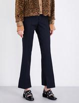 Toga Stepped-hem high-rise flated wool-twill trousers