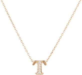 Latelita Diamond Initial Letter Pendant Necklace Rose Gold T