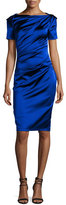 Talbot Runhof Monument Ruched Satin Short-Sleeve Dress, Royal