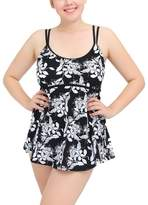 Akmipoem Womens Retro Plus Size Floral Two Pieces Tankini Swimsuit Swimdress