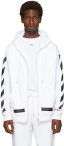 Off-White White Diagonal Brushed Zip Hoodie