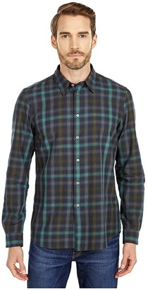 Paul Smith Plaid Tailored Fit Shirt (Olive) Men's Clothing