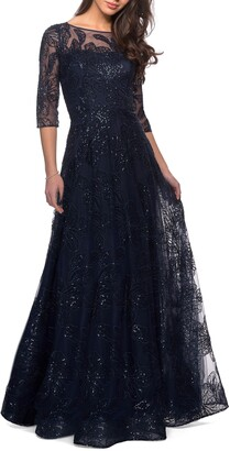 La Femme Sequin Embroidered A-Line Gown