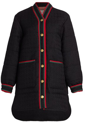 Gucci Tweed Long Puffer Coat