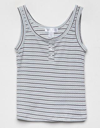WHITE FAWN Stripe Girls Blue Henley Tank