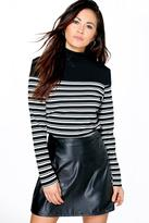 Boohoo Reece Contrast Stripe Roll Neck Top