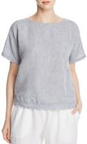 Eileen Fisher Organic Linen Frayed Hem Top