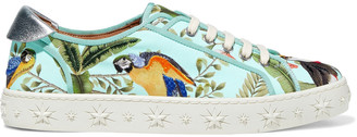 Aquazzura + De Gournay Amazonia Metallic Leather-trimmed Embroidered Jacquard Sneakers