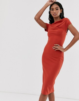 Asos Design DESIGN off shoulder textured pencil midi dress-Orange