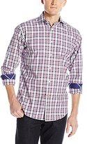 Thomas Dean Men's 1 Btton Spread Collar Dobby Check