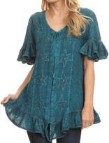 Sakkas 1663 - Sayle Long Star Embroidered Blouse Shirt Top With Button Front And Ruffles - S/M