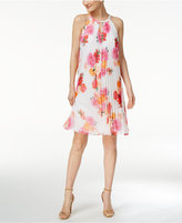 Calvin Klein Pleated Floral-Print Trapeze Dress