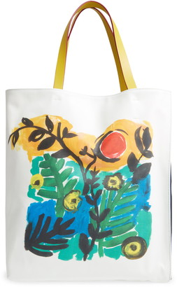Marni Floral Print Leather & Canvas Tote