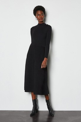 Karen Millen Midi Essential Rib Knit Dress