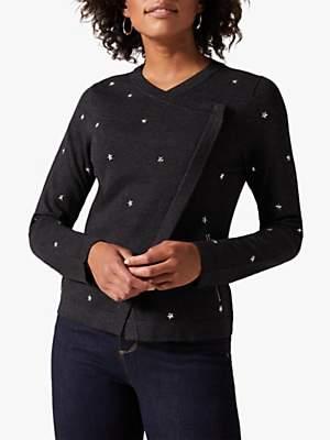Phase Eight Sadie Star Knit Jacket, Charcoal