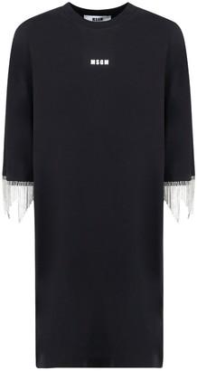 MSGM Embellished Fringed T-Shirt Dress