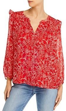 Parker Floral-Print Ruffle-Shoulder Silk Top
