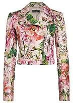 Dolce & Gabbana Women's Brocade Floral-Print Moto Jacket
