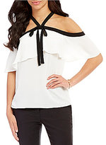 Vince Camuto Off-The-Shoulder Tie Neck Ruffle Blouse
