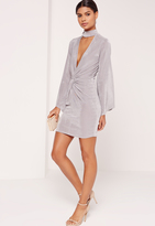 Missguided Choker Neck Knot Front Dress Grey