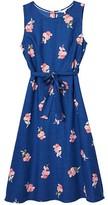 Joules Women's Casual Dresses BLUEPOSY - Blue Posy Tie-Waist Sleeveless A-Line Dress - Women