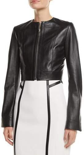 Michael Kors Zip-Front Cropped Plonge Leather Jacket