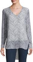 Joan Vass Long-Sleeve V-Neck Blouse