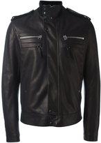 Lanvin classic leather jacket - men - Calf Leather/Viscose - 52