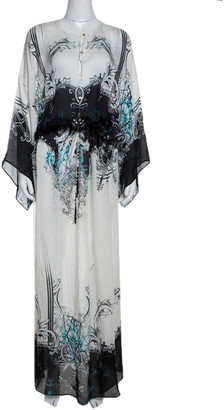 Roberto Cavalli Black & White Abstract Print Silk Maxi Dress M