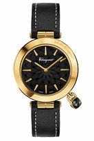 Salvatore Ferragamo 36mm Intreccio Watch w/ Black Topaz Charm & Leather Strap