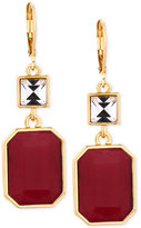 T Tahari Gold-Tone Red Crystal Drop Earrings