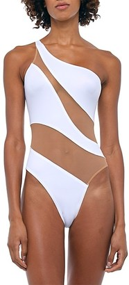 Norma Kamali Mesh Insert One-Shoulder One-Piece Swimsuit